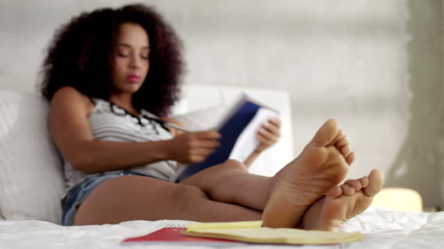 Female Black Student Preparing School Test At Home video