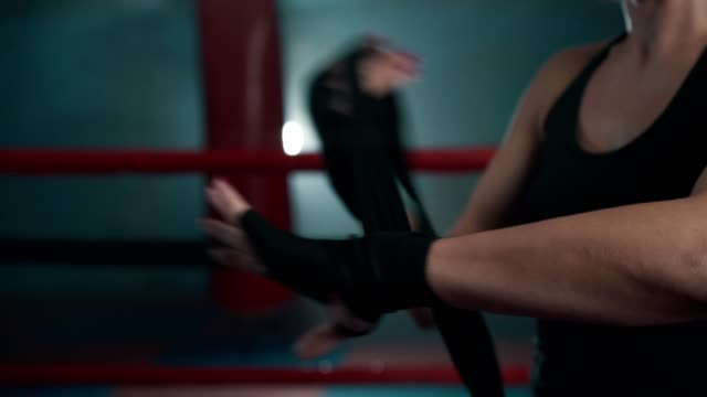 female boxer preparing for fight - kick boxing video stock e b–roll