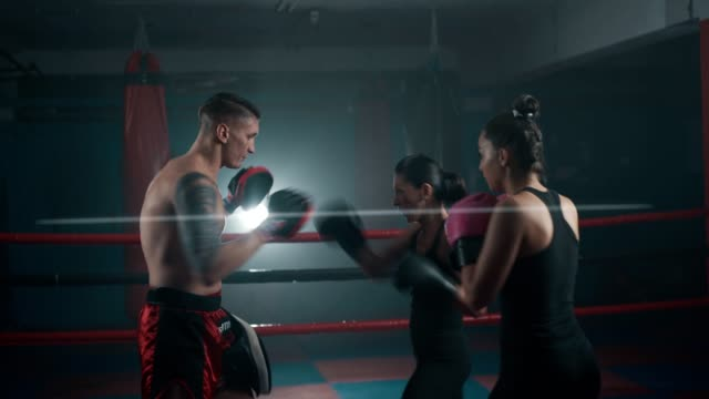 Female boxers on training class