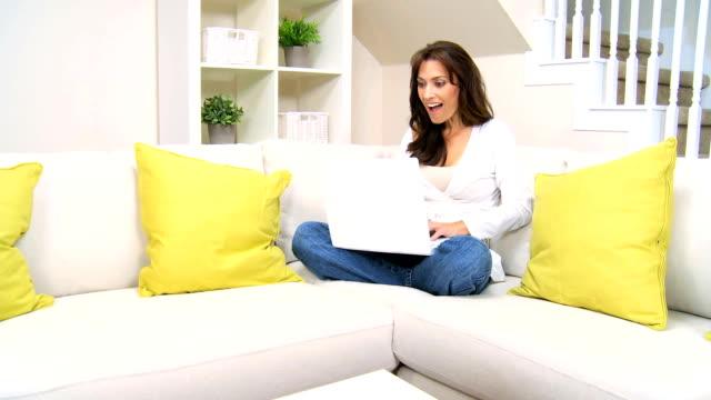 Female Brunette Chatting Using a  Webcam video