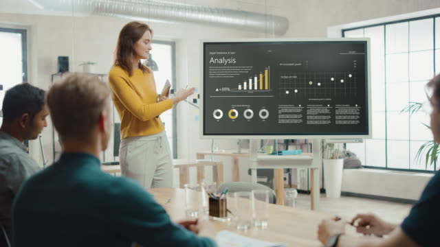 Female Chief Analyst Holds Meeting Presentation for a Team of Economists. She Shows Digital Interactive Whiteboard with Growth Analysis, Charts, Statistics and Data. People Work in Creative Office