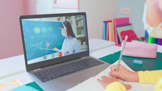 kvinnliga barn lära sig matte på nätet - digital reading child bildbanksvideor och videomaterial från bakom kulisserna