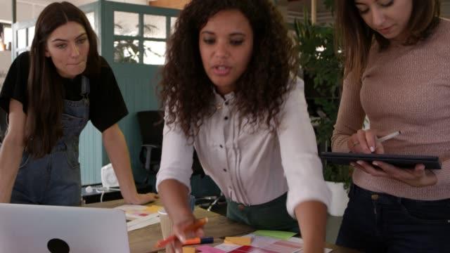 Designerinnen treffen um Tisch im Büro erschossen auf R3D – Video