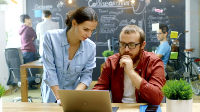 female designers talks male developer about ongoing project while he works on a laptop. in the background stylish young people in trendy office environment. - apprendista video stock e b–roll