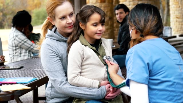 Female doctor examines young girl at free clinic