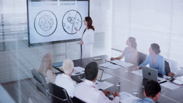 female doctor giving a presentation on a virus to her colleagues in the conference room - leanincollection stock videos & royalty-free footage