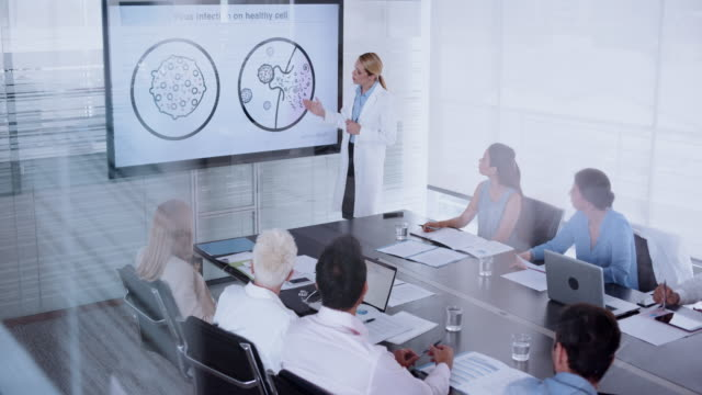 female doctor giving an animated presentation of a virus entering the cell to her colleagues in the conference room - leanincollection stock videos & royalty-free footage