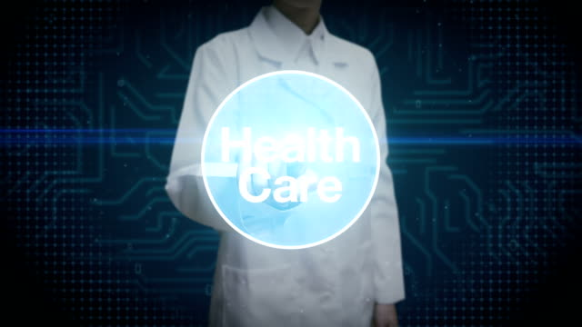 Female doctor, Scientist touching screen, Various Health care technology icon connect global world map, dots makes world map. internet of things.2. video