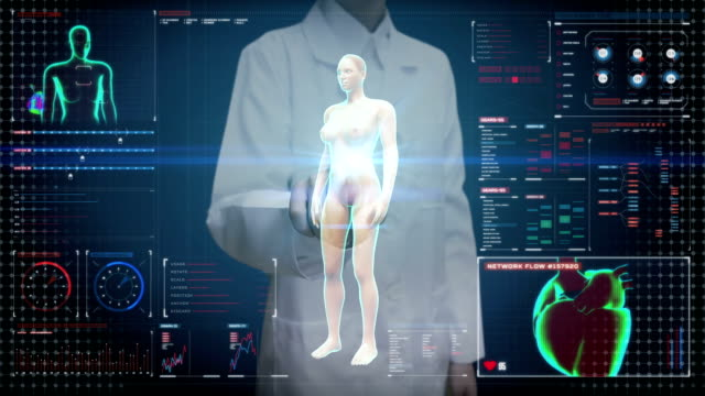 Female doctor touch screen, Rotating Female Human, scanning cardiovascular system, skeletal structure, bone system, Blue X-ray light. video