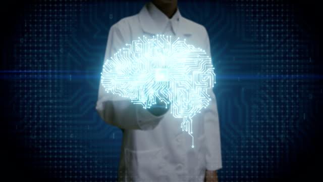 Female doctor touching digital screen, Brain CPU chip, grow artificial intelligence. video