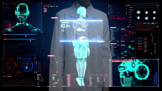 Female doctor touching digital screen, Scanning robot cyborg body in digital interface. artificial intelligence. video