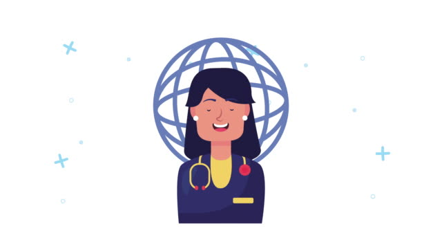 female doctor with planet animation video