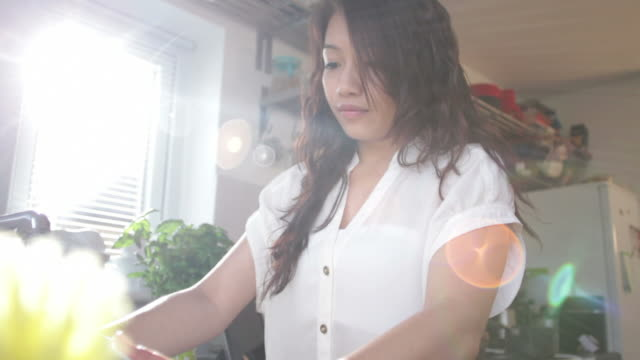 Female doing dishes in domestic kitchen video