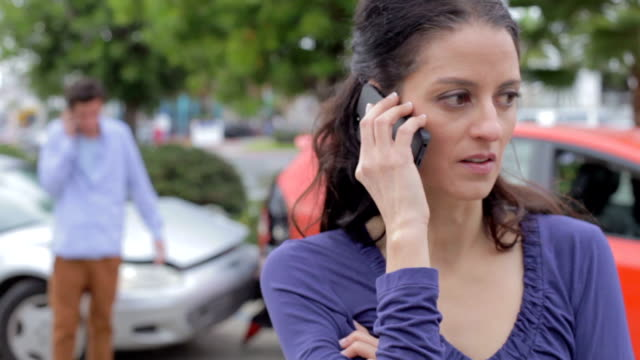 Female Driver Making Phone Call After Traffic Accident video