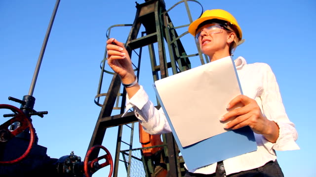 Female Engineer in an Oilfield video