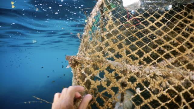 Weibliche Umweltaktivistin Taucherin entfernt Geisternetzverschmutzung aus dem Ozean – Video