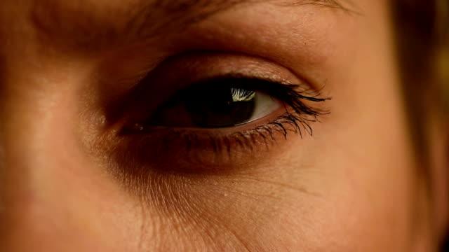 Female eye closeup slow motion video