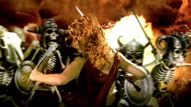 female fantasy character fighting skeletons