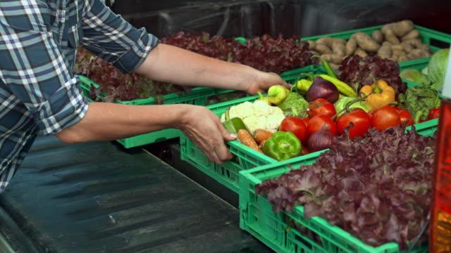 Female farmer unloading her vegetable delivery truck