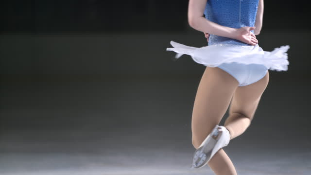 SLO MO TU Female figure skater spinning on one foot video