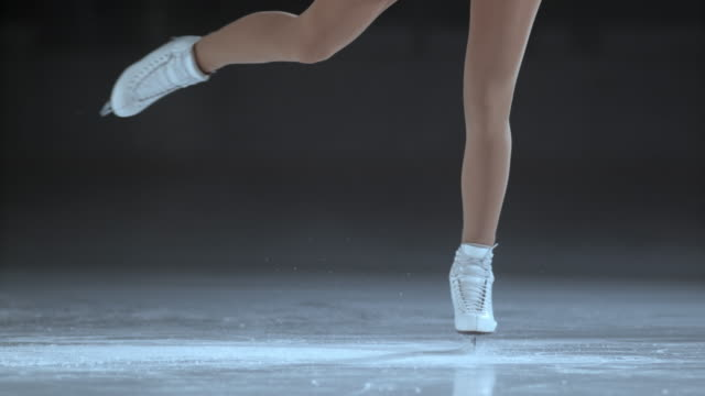 SLO MO Female figure skates in a spin video