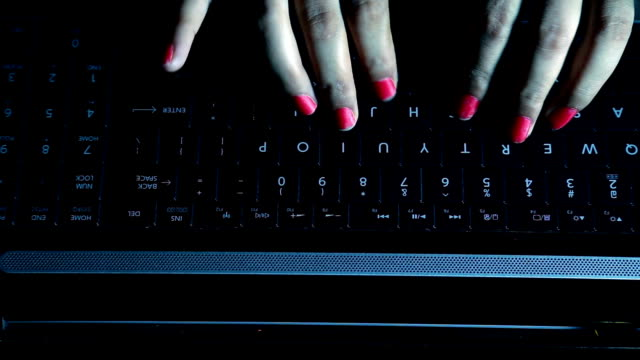 Female Fingers Typing on the Laptop Keyboard video