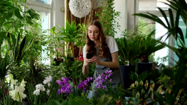 Female florist photographing flowers