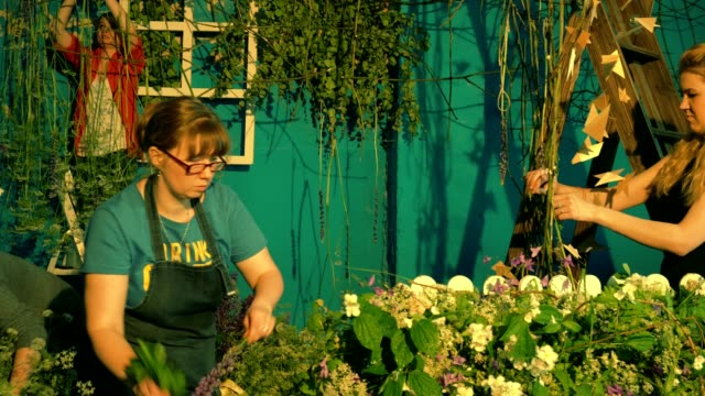 Female florists teamwork video