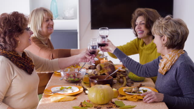 Bидео Female  friends  having Thanksgiving lunch and cheers with red wine