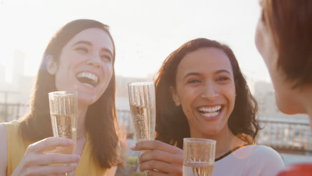 Female Friends Making A Toast To Celebrate On Rooftop Terrace With City Skyline In Background