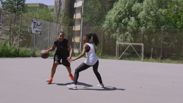 Female friends playing basketball on court