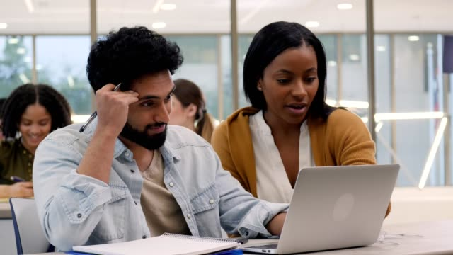 vídeos de stock e filmes b-roll de female graduate student helps male undergrad student during tutoring session - conselho