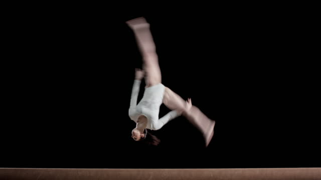 LD Female gymnast performing on a balance beam video