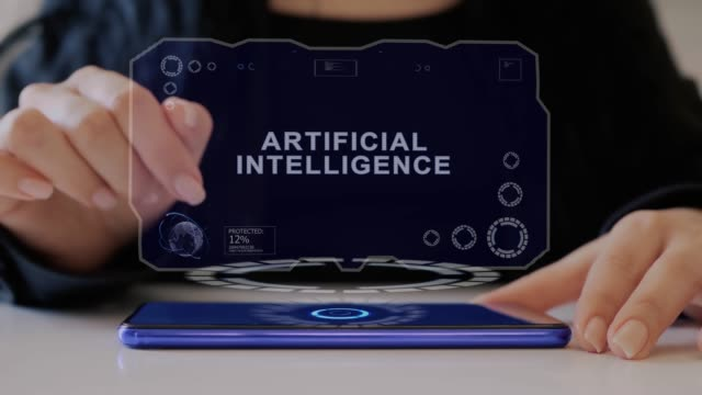 Female hand interacts hologram Artificial Intelligence