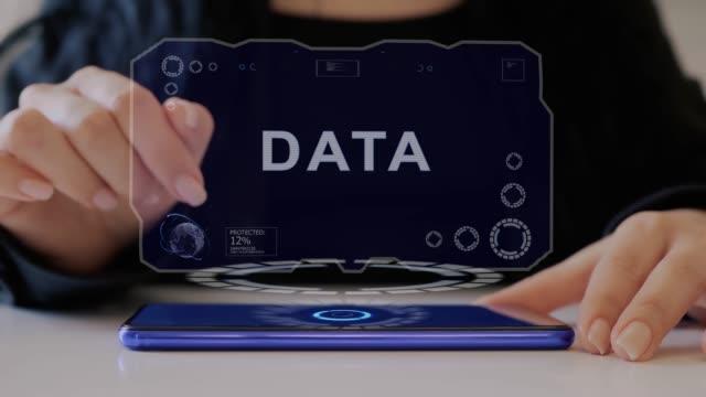 Female hand interacts hologram Data