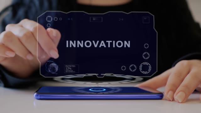 Female hand interacts hologram Innovation