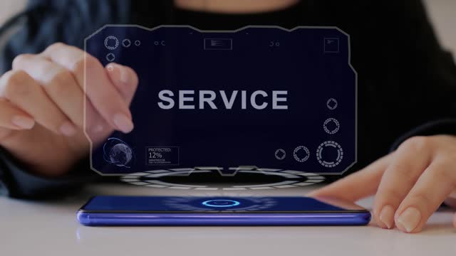 Female hand interacts hologram Service