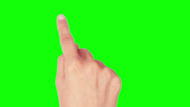 Female hand. Mobile phone. Touchscreen gestures. Green Screen. Technology background
