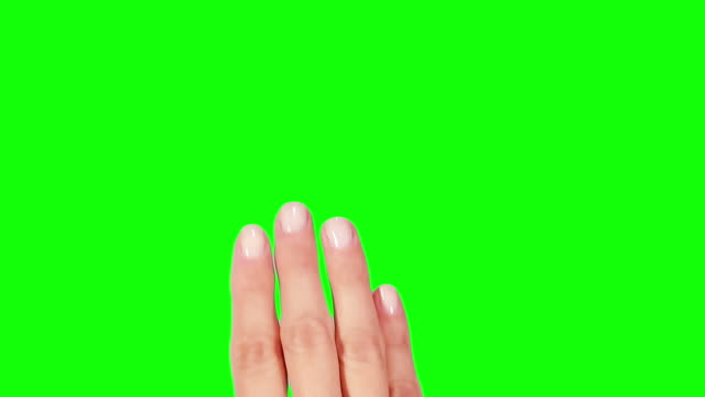 Female hand. Mobile phone. Touchscreen gestures. Green Screen. video