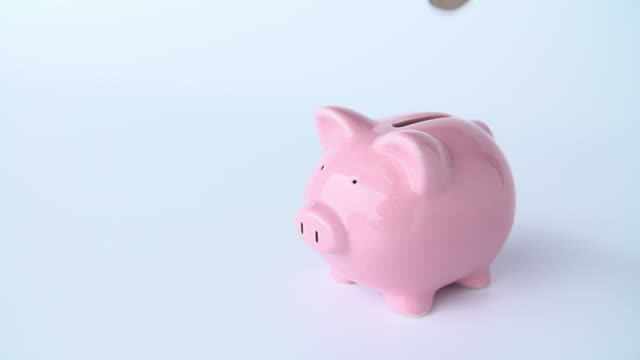 Female Hand Putting Coin Into Piggy Bank In Slow Motion video