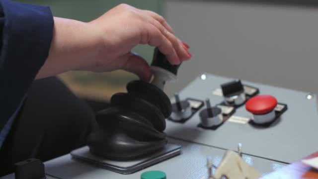 female hand shift the lever - leva video stock e b–roll