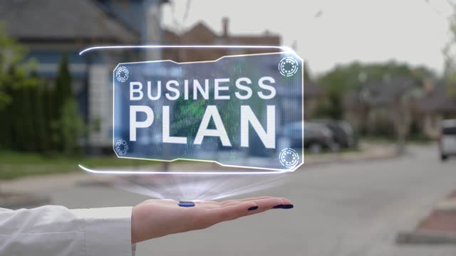 Female hand showing hologram Business plan