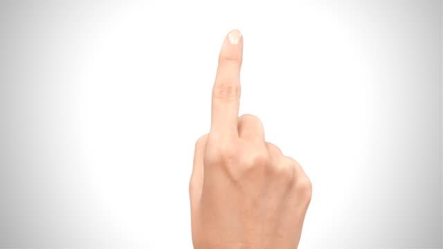Female hand. Touchscreen gestures. Based on 4K.  Luma matte. video