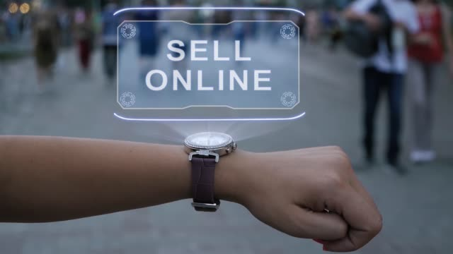 Female hand with hologram Sell online