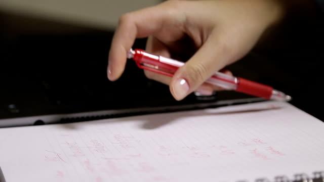 weibliche hand schreiben und schreibdienste - mouse pad stock-videos und b-roll-filmmaterial