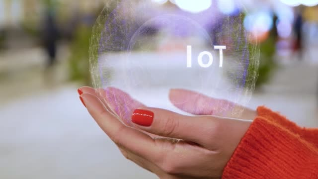 Female hands holding a conceptual hologram with text IoT