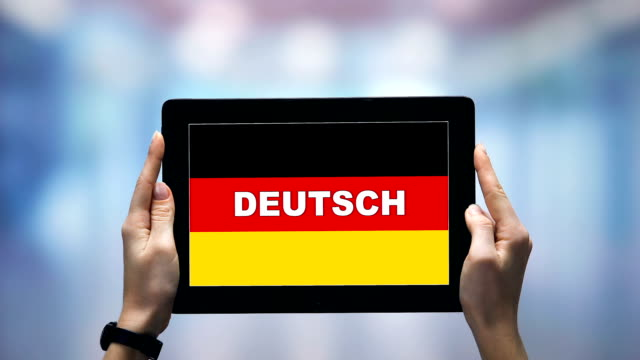 Female hands holding tablet with German word against national flag, online app
