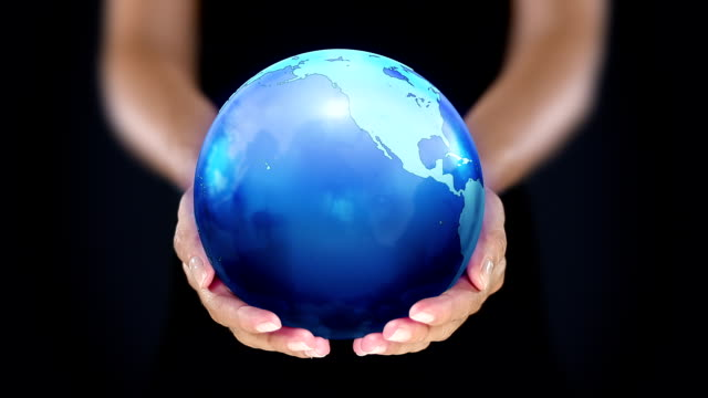 Female hands holding the Earth. Starting in US. Blue.