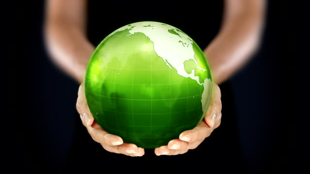 Female hands holding the Earth. Starting in US. Green/lines.
