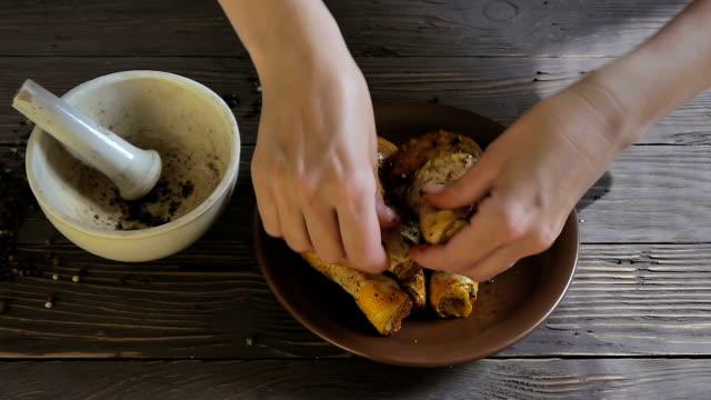 Female Hands Marinated Chicken video